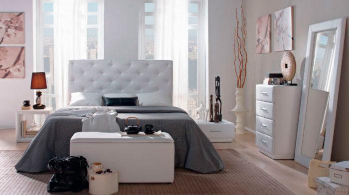 dormitorio principal cabecero mesilla noche estantería cómoda espejo piecero arcón muebles Thermobel Segovia