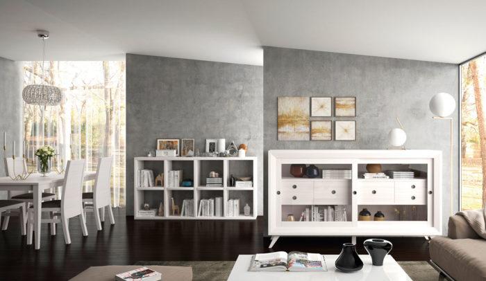salón mesa de comerdor estantería cubos aparador vitrina muebles Thermobel Segovia