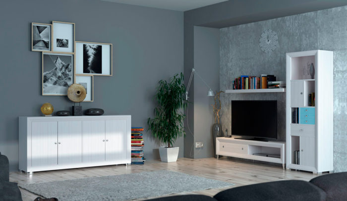 salon estilo nordico mueble de TV aparador estantería Thermobel Segovia