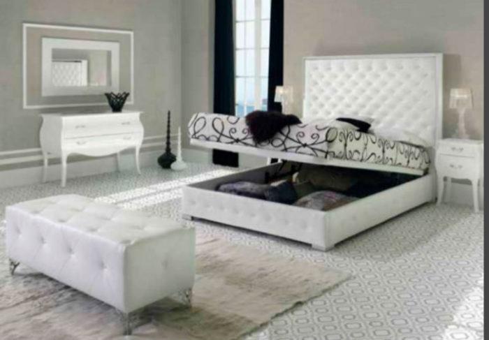 dormitorio principal clásico cama matrimonio canapé cabecero acolchado piecero mesilla noche cómoda muebles Thermobel Segovia