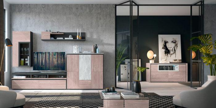 salon moderno mueble TV estanterías aparador Thermobel Segovia