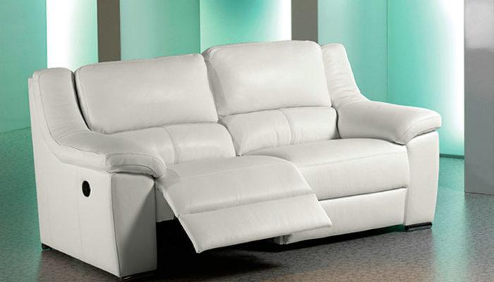 sofá blanco piel muebles Thermobel Segovia